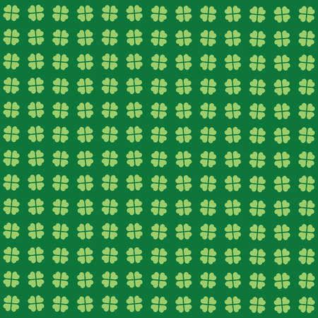 Green seamless pattern with clovers, shamrock leaves for St. Patrick's Day. Holiday symbol