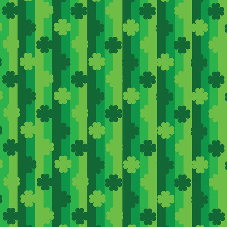 Green seamless pattern with clovers, shamrock leaves for St. Patrick's Day. Holiday wallpaper with symbols