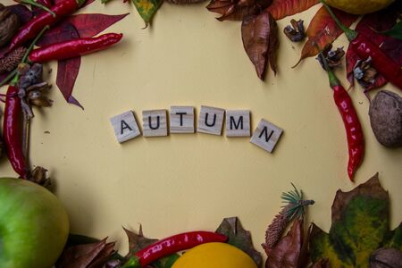 Text spelt with wooden letter tiles on pale yellow background, word AUTUMN, autumn still life, lettering concept Stockfoto