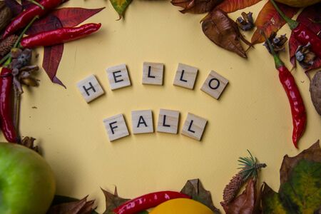Text spelt with wooden letter tiles on pale yellow background, words HELLO FALL, autumn still life, lettering concept Stockfoto