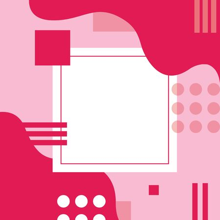 Geometric poster template, abstract shapes, event, sale, cover layout with copy space, pink colors  イラスト・ベクター素材
