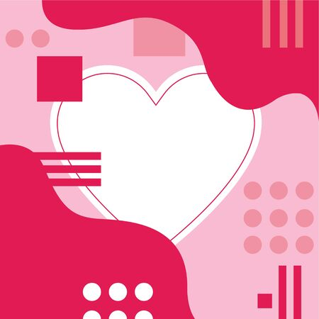 Geometric art with empty heart shape for text, template for greeting card for valentines, pink colors, copy space  イラスト・ベクター素材