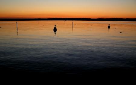 boas: Tramonto sul lago  Archivio Fotografico