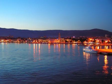 Croatia, Split: Harbour at dusk photo