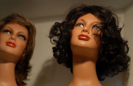 shopwindow: Female Wigs Stock Photo