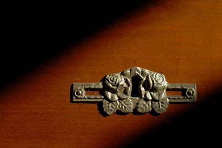 nightstand: Nightstand Keyhole Detail Stock Photo