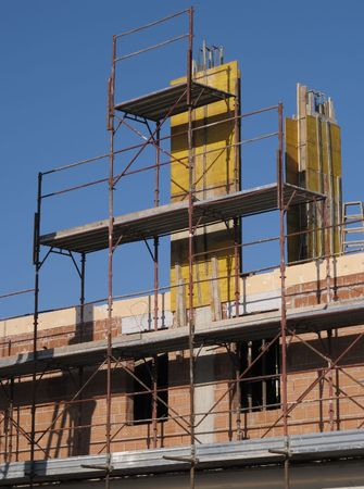 building site: Scaffolding in a building site