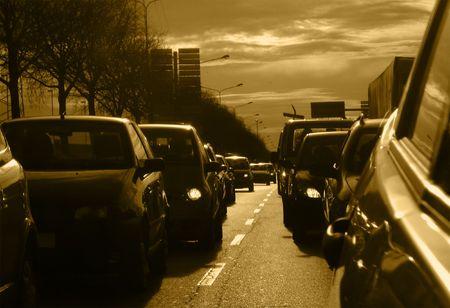Traffic Jam at Dusk