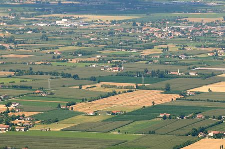 po: Aerial view of Northern Italy Padana Valley during summer Stock Photo