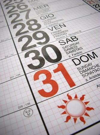 Calendario: ultimo giorno del mese