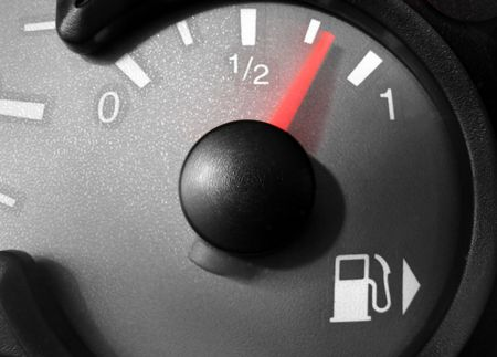 pricey: Fuel gauge during a refuelling