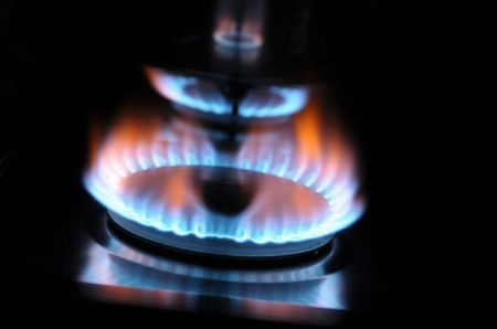 Burning gas in a kitchen stove