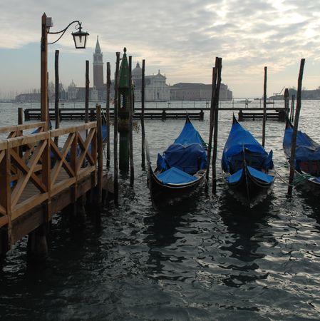 Venice: Moored gondolas in St.Mark basin Stock Photo