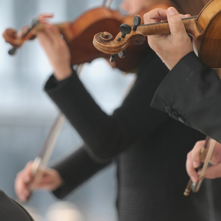 Violin players during an outdoor exhibition. Focus on nearest.