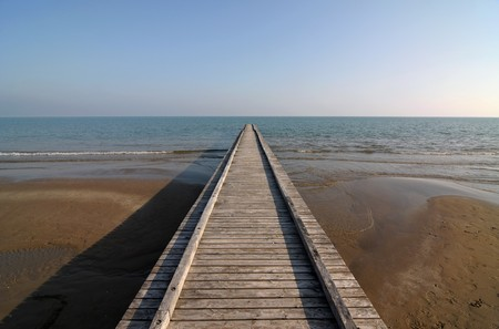 Wooden pier perspective on seashore
