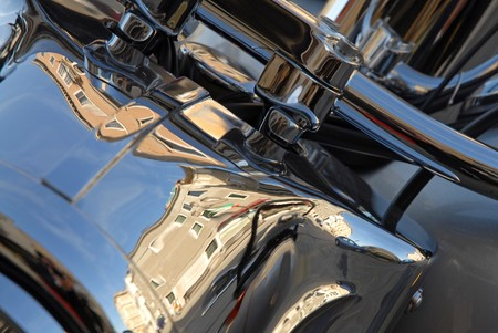 Motorbike engine detail photo