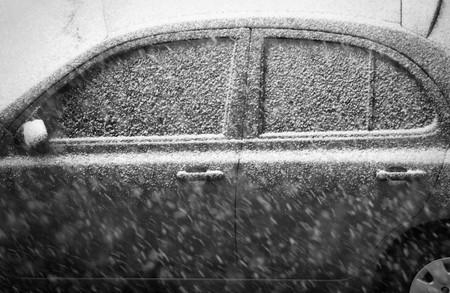 Détail d'un side car couverts par la neige Banque d'images - 4438167