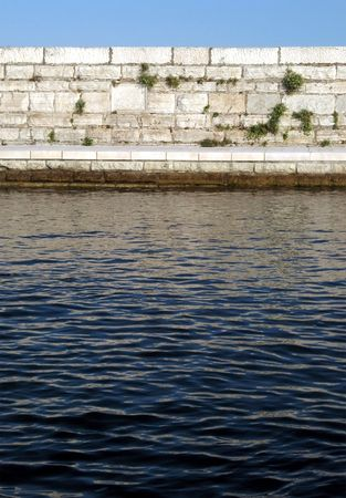 borderline: Ancient wall with water surface Stock Photo