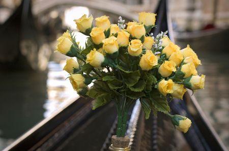 prow: Flower decoration on a gondola prow