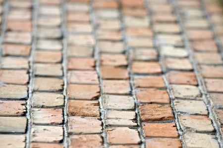 brick floor: Piso de ladrillo antiguo