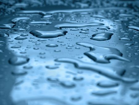 Water drops on a silver metallic car roof                   photo