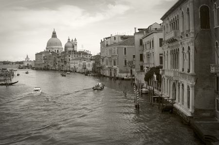 Venice: Canal Grande viewed from Accademia bridge, sepia toned
