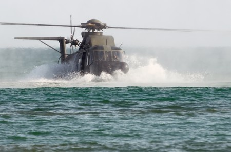 HH-3F rescue helicopter during a water landing