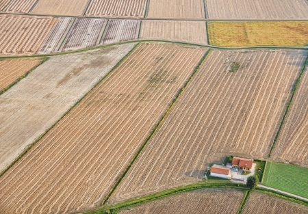 plowed field: Intensive farming Stock Photo