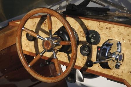 pleasure craft: Wooden pleasure craft cockpit Stock Photo