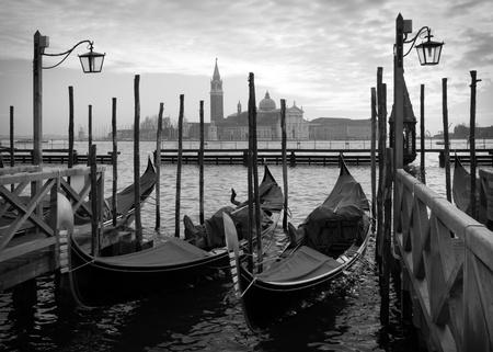 Venice, Italy: Moored gondolas in St.Mark basin Standard-Bild