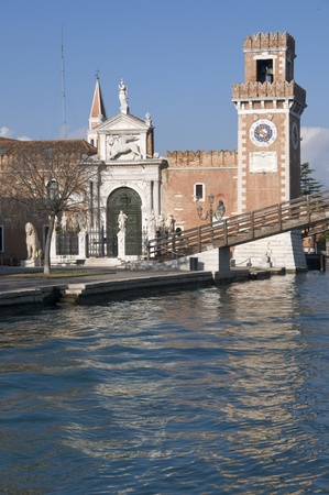 Arsenale canal and waterfront in Venice, Italy  photo