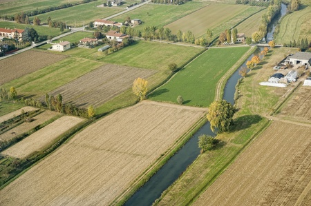 Aerial view of cultivated fields in Pianura Padana, Italy