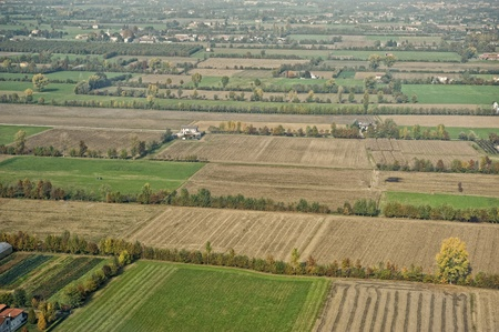 po: Italy   Aerial view of little villages and cultivated fields in Pianura Padana