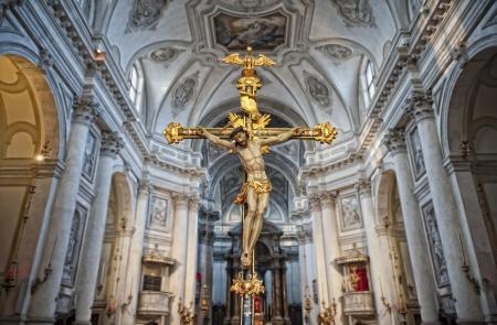 godly: Crucifix in a church interior