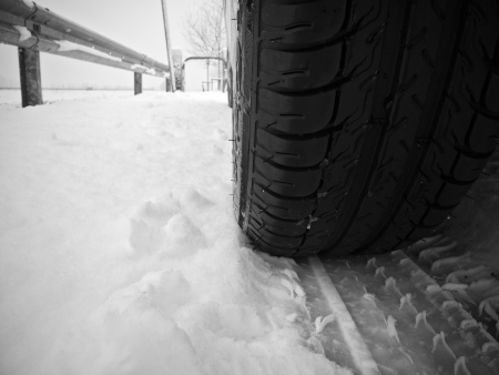 Tire trace on snow photo