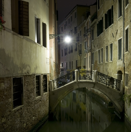 balustrade: Italy, Venice  Canal by night