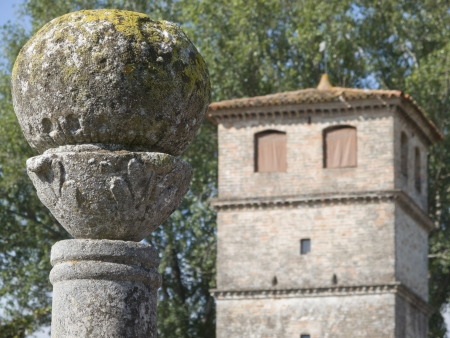 pilaster: Part of a spherical flint stone decorating a pillar along the outer fence of an ancient rural mansion