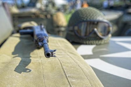 vintage rifle: Vintage WW2 American rifle and helmet