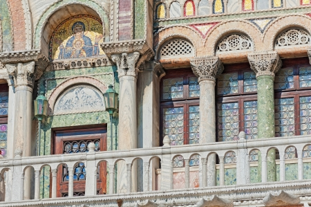 church window: Picturesque part of Saint Mark Basilica in Venice, Italy Stock Photo