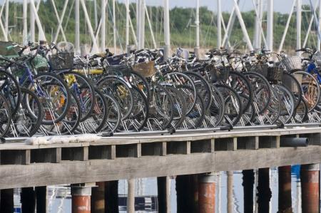 rack wheel: Bicycles rack full of cycles