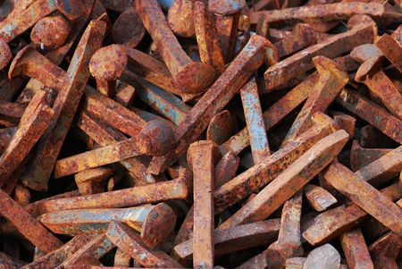 Rusted Pile of Railroad Spikes