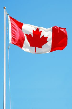Canadian Flag Flaps in Breeze