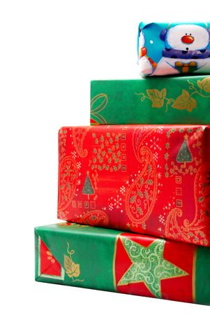 Stack of Colorful Christmas Gifts Stock Photo