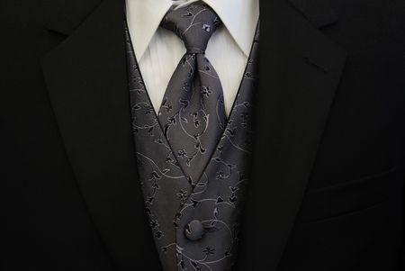 Black Tuxedo Silver Tie and Vest
