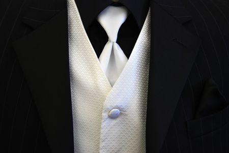 Black Tuxedo White Tie and Vest Stock Photo