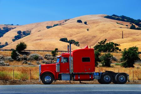 Red Truck in California Hills Stock Photo