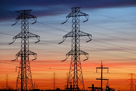 Electrical Towers with Colorful Sky