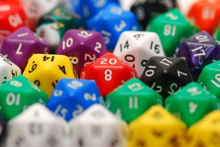Red Twenty Sided Dice in Mixed Group Stock Photo