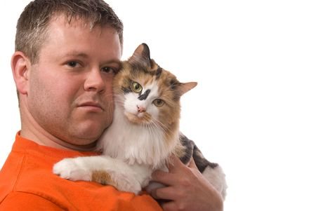 average guy: Young Man with His Cat