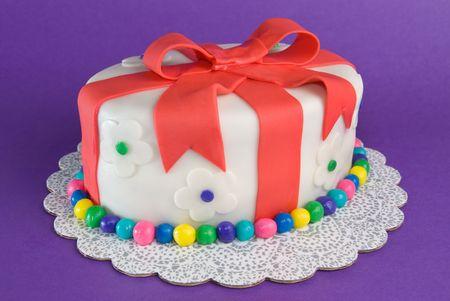 Colorful Fondant Gift Cake Stock Photo
